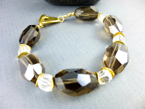 Smoky Quartz Chakra Bracelet, Crystal Quartz - Earth Energy Gemstones