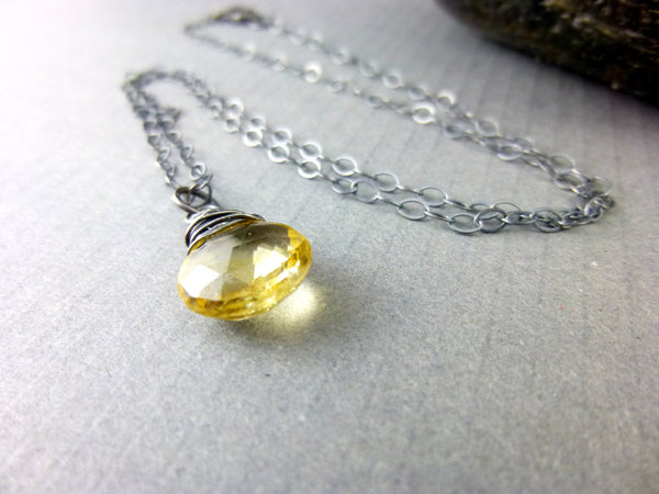 Golden Smoky Quartz Crystal Chakra Necklace, Drop Pendant, Sterling Silver