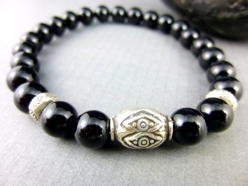 Men's Black Onyx Chakra Bracelet, Root Chakra Fine Silver - Earth Energy Gemstones