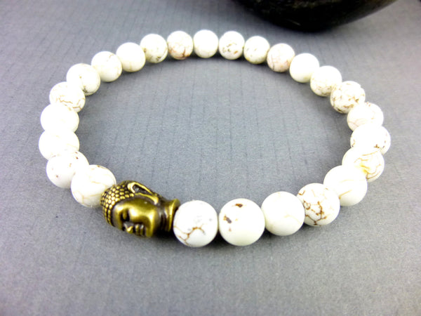 Men's Chakra Bracelets, Buddha Bracelet, Magnesite - Earth Energy Gemstones