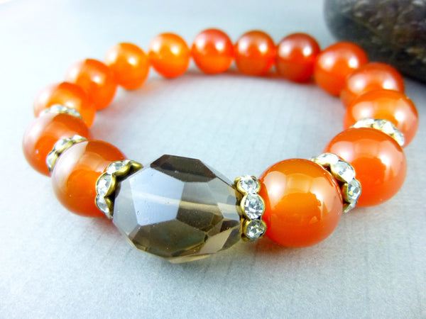 Orange Boho Chakra Bracelet, Carnelian, Root Chakra - Earth Energy Gemstones