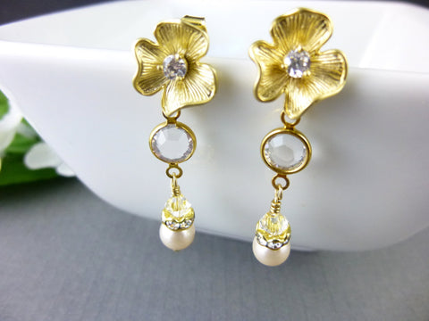 Freshwater Pearl Bridal Earrings, Gold Plated, Swarovski Crystals - Earth Energy Gemstones
