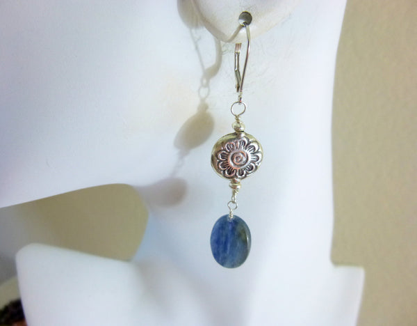 Blue Kyanite Chakra Earrings, Throat Chakra - Earth Energy Gemstones