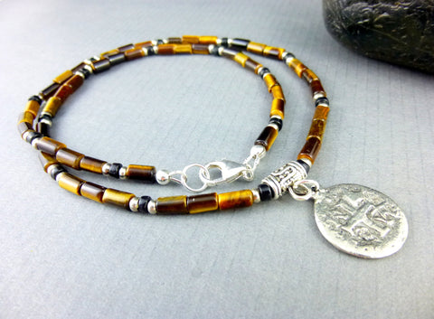 Men's Tiger Eye Chakra Necklace, Good Luck Tiger Eye & Obsidian Necklace