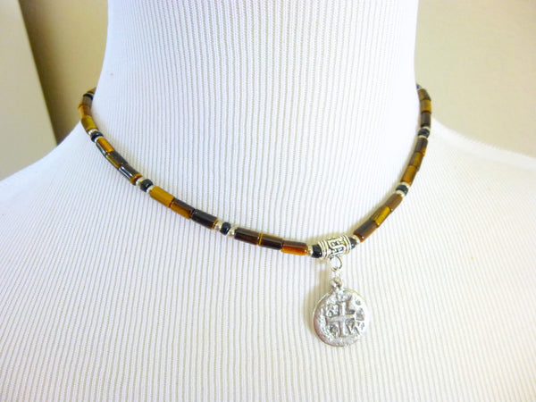 Men's Tiger Eye Chakra Necklace, Good Luck - Earth Energy Gemstones