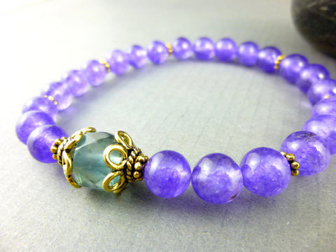 Amethyst Stretch Chakra Bracelet - Earth Energy Gemstones