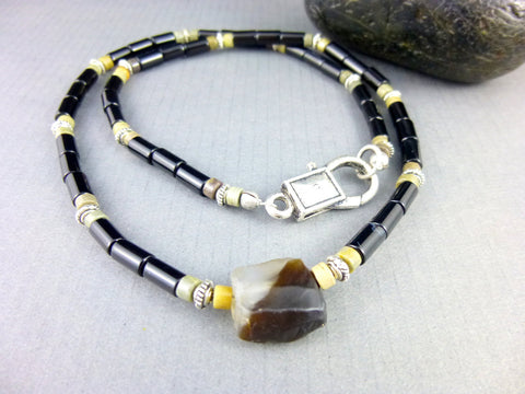 Onyx Root Chakra Men's Necklace, Black Onyx, Jasper & Agate