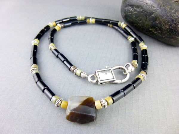 Onyx Root Chakra Men's Necklace - Earth Energy Gemstones