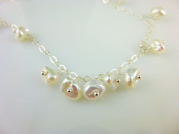 Pearl Drops Necklace, Keshi Freshwater Pearl Necklace, Sterling Silver or 14kt Gold Filled