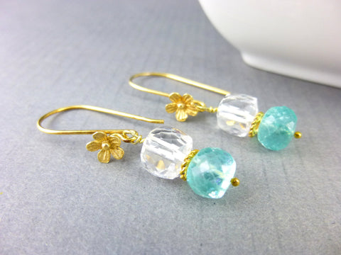Aqua Quartz Crystal Chakra Earrings, Gold Vermeil - Earth Energy Gemstones