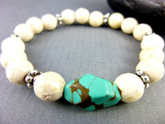 Bisbee Turquoise Chakra Bracelet, Turquoise & Riverstone, Sterling Silver, December Birthstone