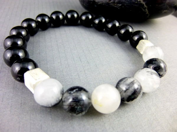 Tourmalinated Quartz Chakra Bracelet, Black Onyx - Earth Energy Gemstones