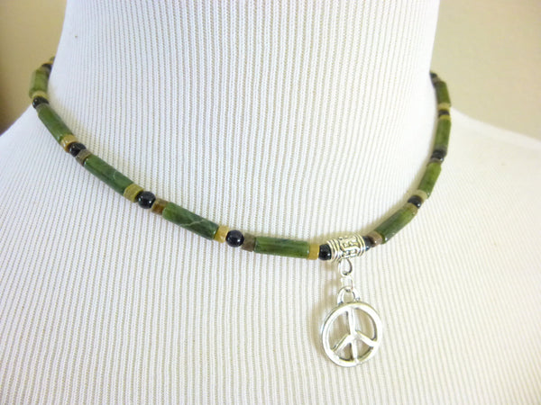 Men's Root Chakra Necklace With Pendant - Earth Energy Gemstones