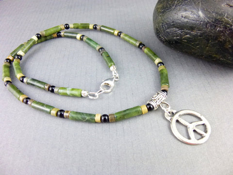 Men's Chakra Necklace, Onyx Jasper & Serpentine, With or Without Pendant, For Him