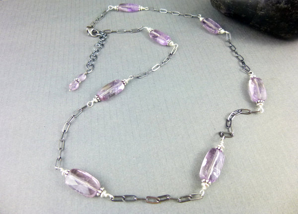 Amethyst Wire Wrapped Chakra Necklace, Brazilian Amethyst & Sterling Silver, February Birthstone