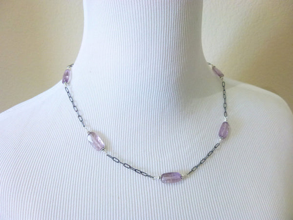 Amethyst Chakra Necklace, Sterling Silver, February Birthstone - Earth Energy Gemstones