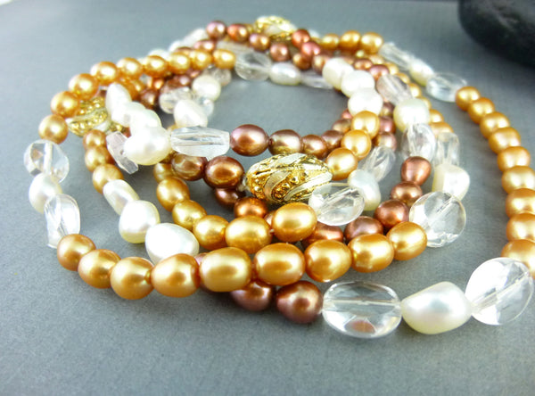 Long Freshwater Pearl Necklace, Chakra Necklace - Earth Energy Gemstones
