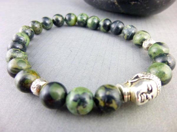Men's Jasper Stretch Bracelet, Kambaba Jasper, Buddha Head - Earth Energy Gemstones