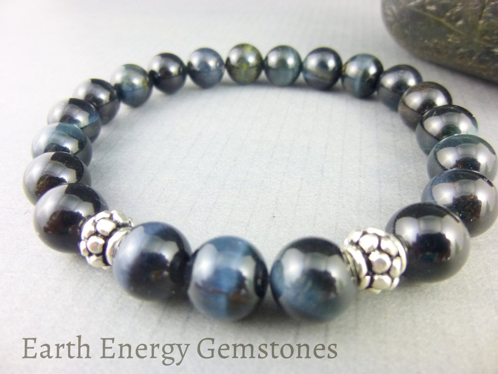 Blue Tiger Eye Chakra Bracelet, Sterling Silver - Earth Energy Gemstones