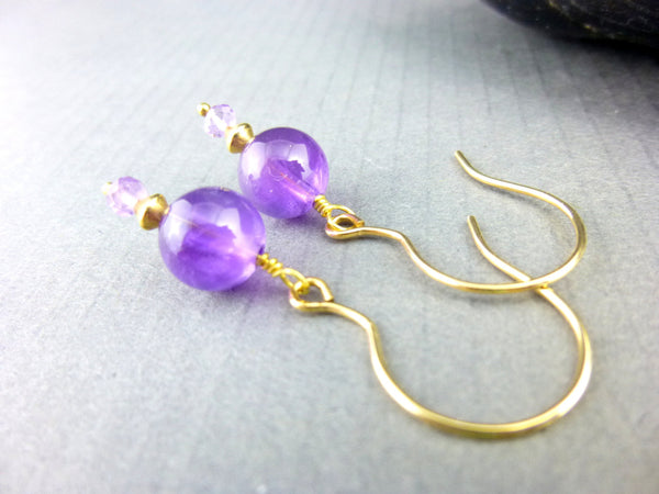 Amethyst Chakra Dangle Earrings 14K Gold Fill - Earth Energy Gemstones