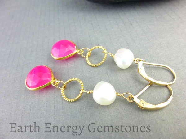 Hot Pink Chakra Earrings, Chalcedony - Earth Energy Gemstones