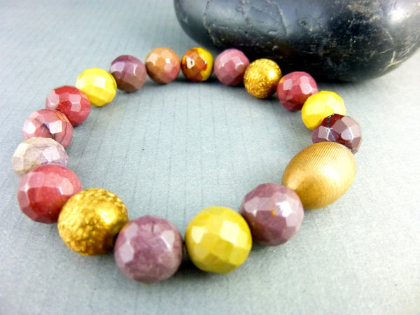 Mookaite Jasper Stretch Chakra Bracelet - Earth Energy Gemstones