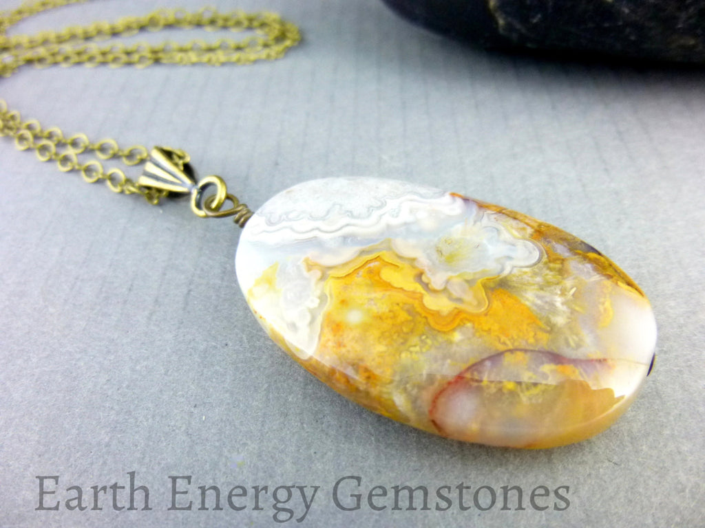 Laguna Lace Agate Chakra Necklace - Earth Energy Gemstones