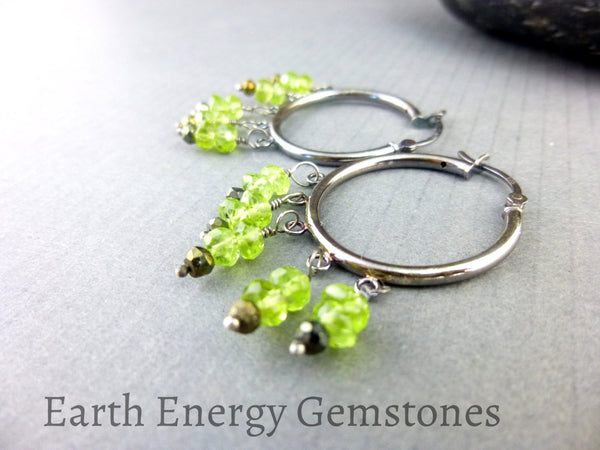 Peridot & Bronze Spinel Chakra Earrings, August Birthstone, Sterling Silver