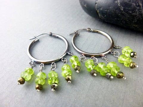 Peridot Chakra Earrings, August Birthstone, Sterling Silver - Earth Energy Gemstones