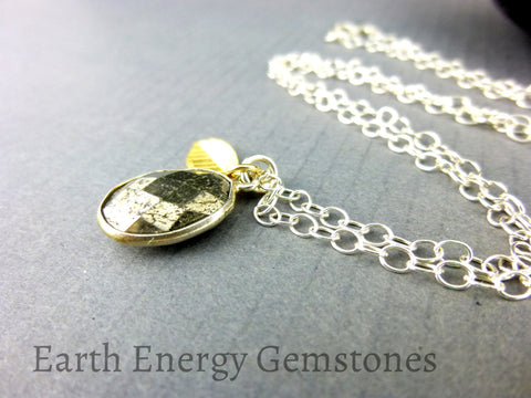 Gold Pyrite Pendant Necklace, Chakra Necklace - Earth Energy Gemstones