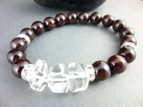 Garnet Chakra Bracelet, Rock Crystal Quartz - Earth Energy Gemstones