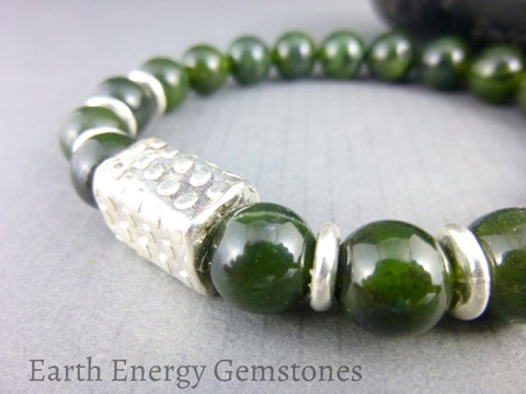 Nephrite Jade Heart Chakra Bracelet - Earth Energy Gemstones