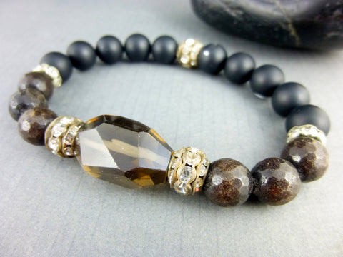 Root Chakra Stretch Bracelet, Smoky Quartz, Bronzite, and Onyx - Earth Energy Gemstones