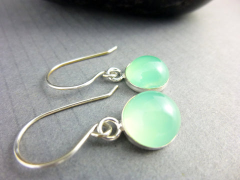 Green Healing Earrings - Chalcedony & Sterling Silver Chakra Earrings
