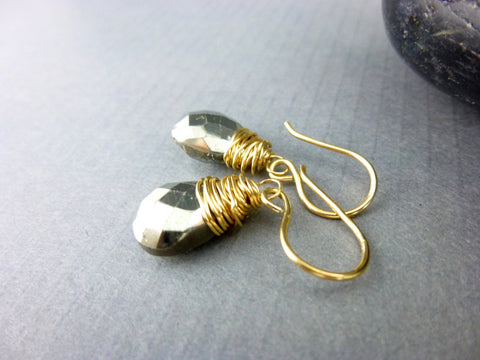 Pyrite Chakra Earrings, Gold Filled Wire Wrapped Pyrite Earrings