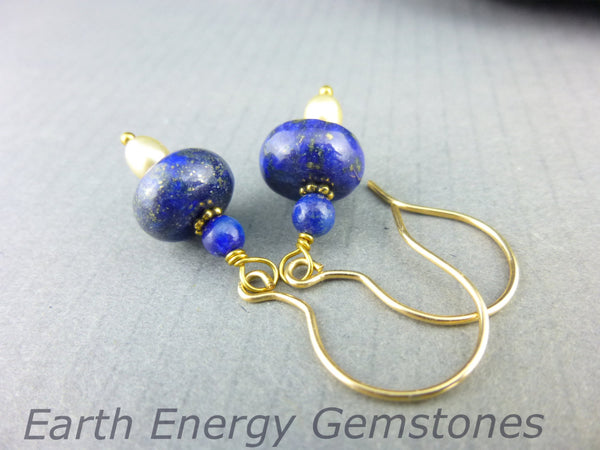 Lapis Lazuli Chakra Earrings, 14K Gold Fill - Earth Energy Gemstones