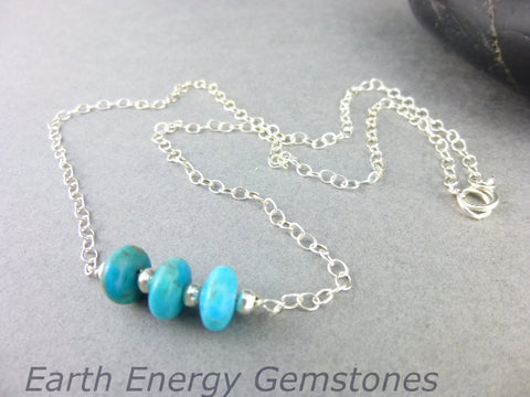 Turquoise Throat Chakra Necklace, Genuine Kingman Turquoise & Stering Silver