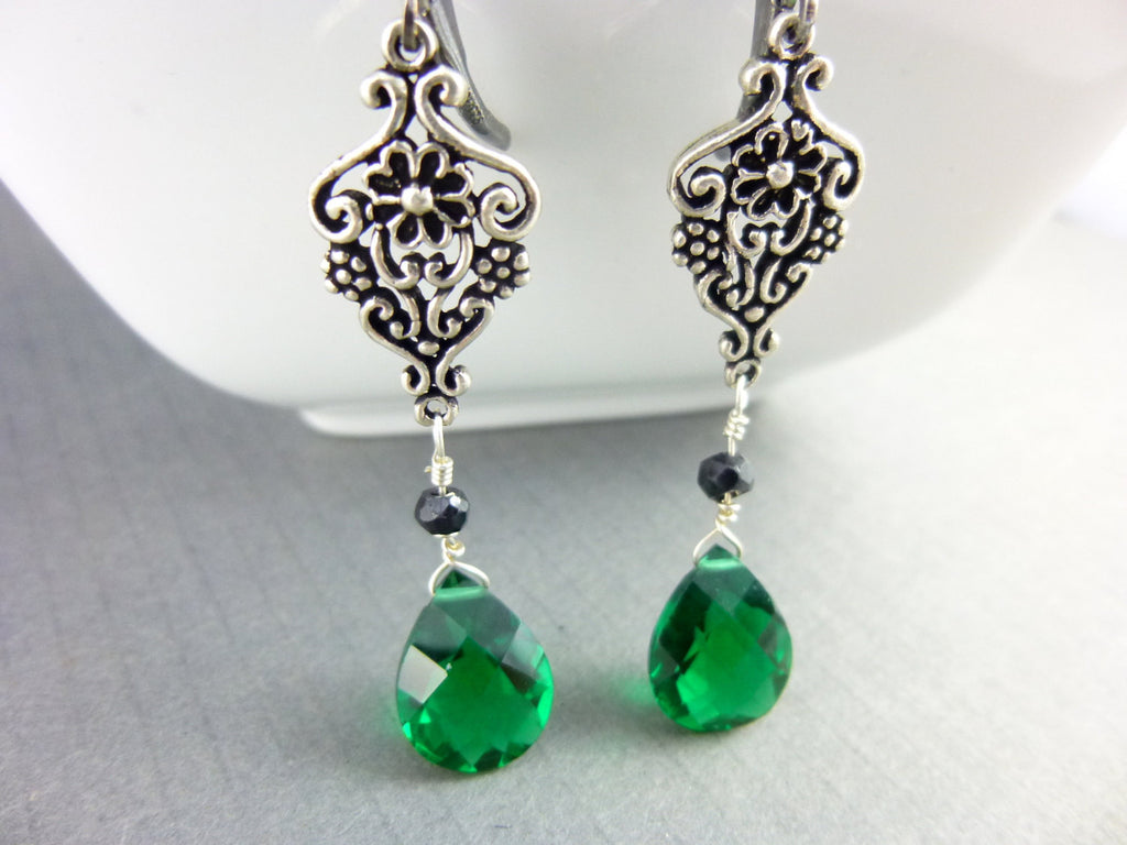 Emerald Green Chakra Earrings, Quartz and Black Spinel - Earth Energy Gemstones
