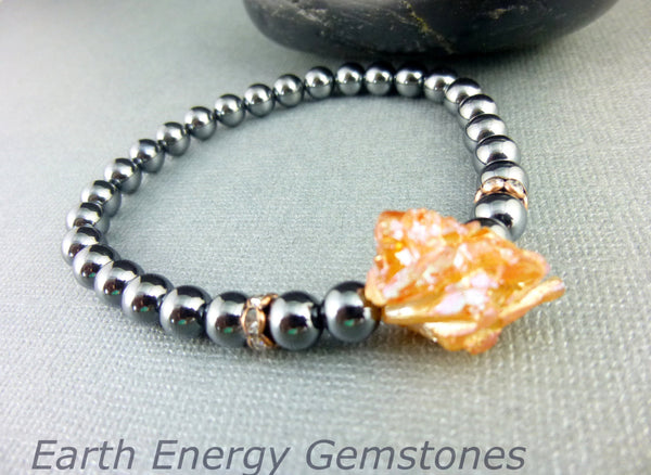 Hematite Root Chakra Bracelet, Protection & Heaing, Peach Druzy - Earth Energy Gemstones
