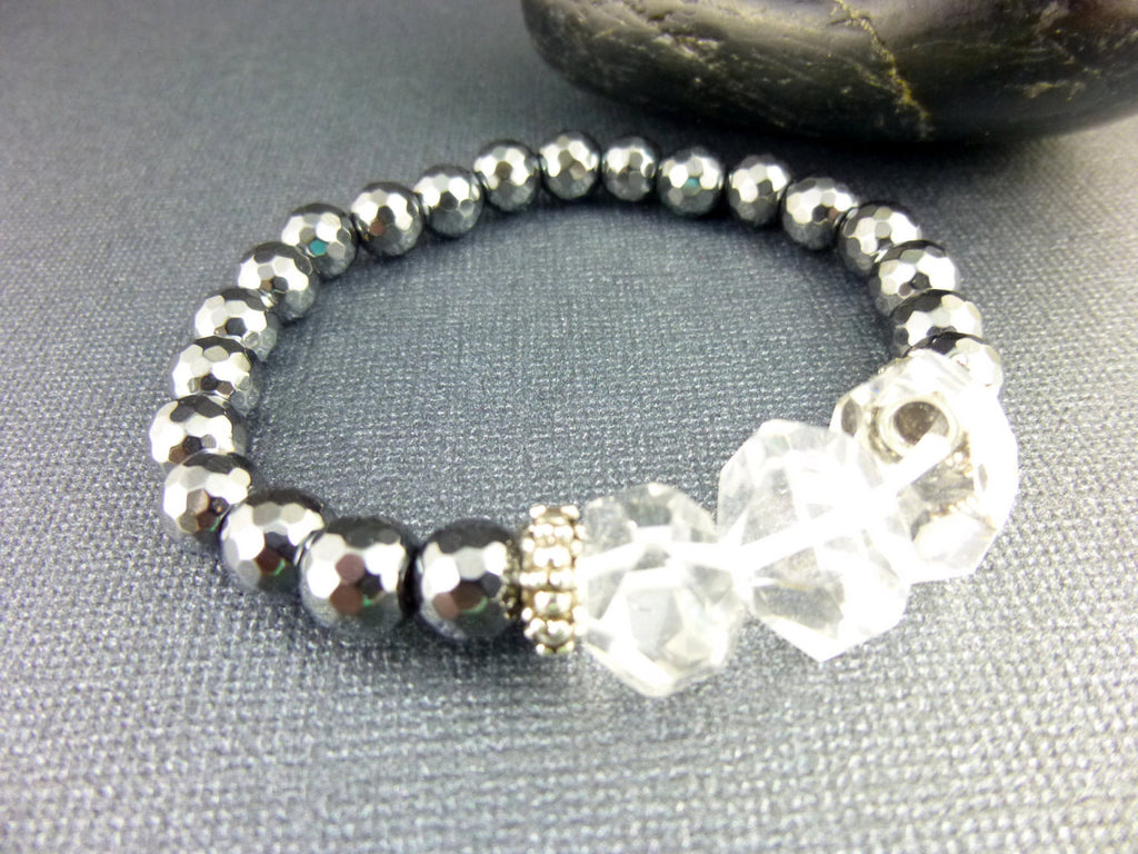Rock Crystals Chakra Bracelet, Natural Hematite - Earth Energy Gemstones
