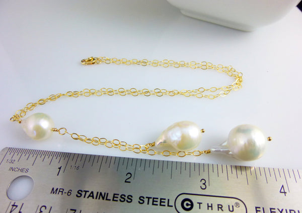 Pearl Lariat Necklace, Flameball Pearls, Chakra Necklace - Earth Energy Gemstones