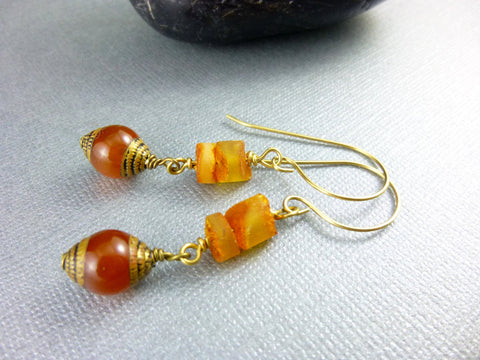 Natural Baltic Amber Earrings, Sterling Silver - Earth Energy Gemstones