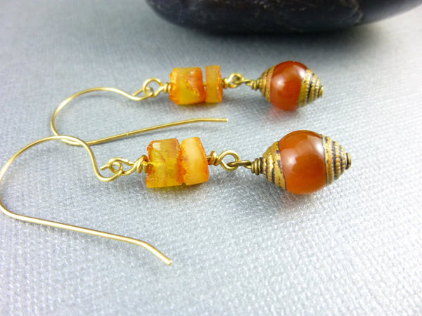 Natural Baltic Amber Chakra Earrings, Ethnic Tribal Dangles