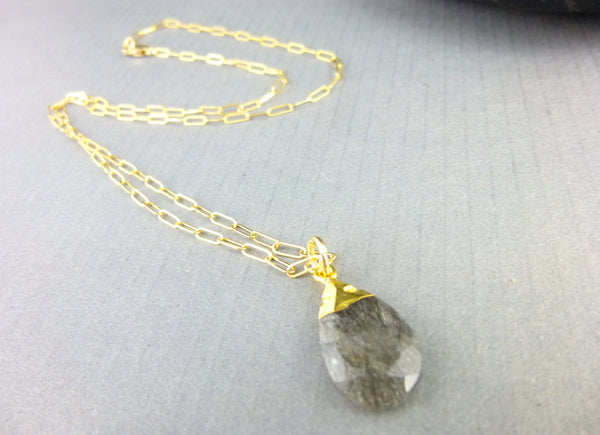 Tourmalinated Quartz Pendant Necklace, Solar Plexus Chakra - Earth Energy Gemstones