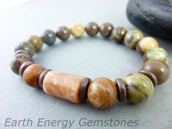 Moonstone Heart Chakra Bracelet - Earth Energy Gemstones