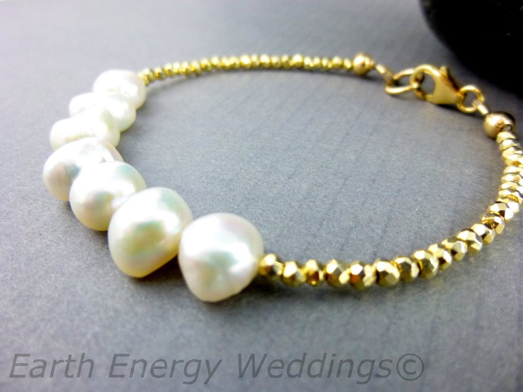 Pearl Chakra Bracelet, Gold Pyrite, Third Eye Chakra - Earth Energy Gemstones