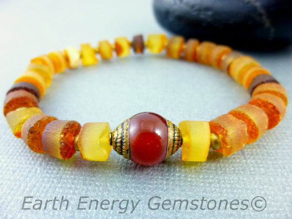 Natural Baltic Amber Chakra Bracelet, Solar Plexus Chakra - Earth Energy Gemstones
