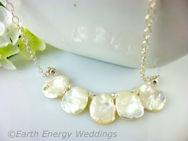 White Keshi Pearl Chakra Necklace, Sterling Silver