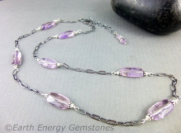Brazilian Amethyst Chakra Necklace, Sterling Silver, February Birthstone