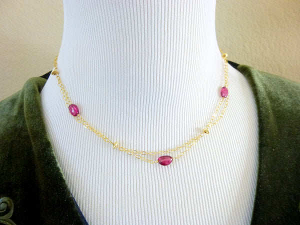 Pink Tourmaline Heart Chakra Necklace, October Birthstone, Rubelite Tourmaline 14K GF